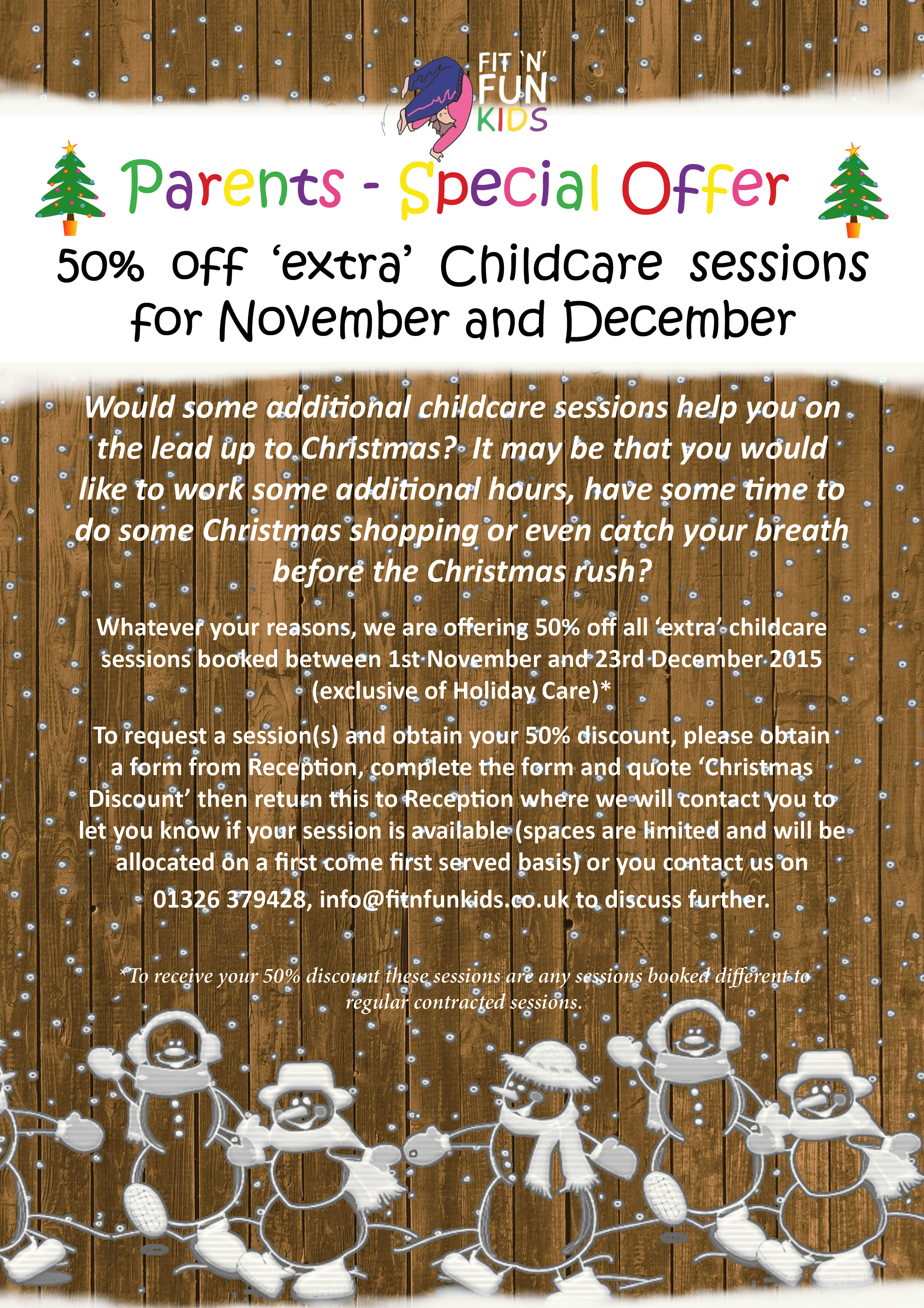 Christmas offer - 50% off childcare at Fit N Fun Kids
